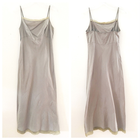eb9543d8d9ca dosa Dresses & Skirts - Light Brown Gray Taupe Silk Slip Dress Sheer Hem